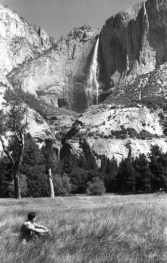 In the summer of 1955, below Yosemite Falls in Tuolumne Meadows, California. Photo: Verena Huber-Dyson