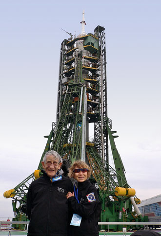 Freeman and Imme Dyson traveled to the Baikonur Cosmodrome in Kazakhstan in March 2009 for Charles Simonyi's second trip to the International Space Station. Photo: by George Dyson