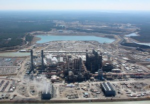 Photo by the Southern Company HUGE UNDERTAKING: Another aerial view of the Kemper Project power plant, with the lignite mine in the background.