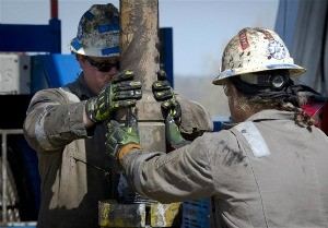 Workers exploring a potential shale field in Pennsylvania Photo: AFP