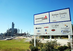 YOU'RE HERE: A sign welcomes truckers to the Kemper Project power plant located north of Meridian in east Mississippi.