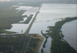 Flooding at the Morganza Spillway