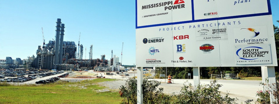 A sign welcomes truckers to the Kemper Project power plant located north of Meridian in east Mississippi