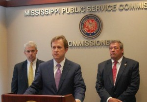 (From left) MSPS Commissioner Brandon Presley Entergy MS President & CEO Haley Fisackerly, and MPSC Chairman Lynn Posey jointly announced millions in savings for Entergy MS customers.
