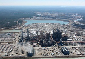 HUGE UNDERTAKING: An aerial view of the Kemper Project integrated gasification power plant, with the lignite mine in the background. Photo Credit: Southern Company