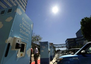 Vehicle charging stations at Portland General Electric headquarters in Portland, Ore. Photo: Associated Press