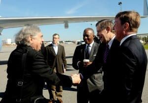 In 2013, before the avalanche of delays and ballooning costs, Southern Co. CEO Tom Fanning, right, and Mississippi Power CEO Ed Holland welcomed U.S. Secretary of Energy Ernest Moniz, to Kemper. Moniz, left, is shaking Holland's hand.