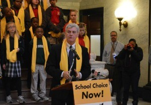 SCHOOL CHOICE ADVOCATE: Mississippi Gov. Phil Bryant speaks at a school choice rally held in January at the state Capitol.