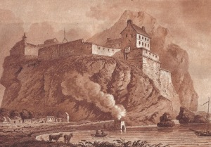 Dumbarton castle in 1800 and functioning lime kiln with smoke in the foreground