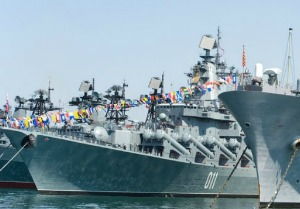 visit of US navy 7th Fleet flagship in the russia Vladivostok near the russian frigate (Credit: Maxim Tupikov/Shutterstock)
