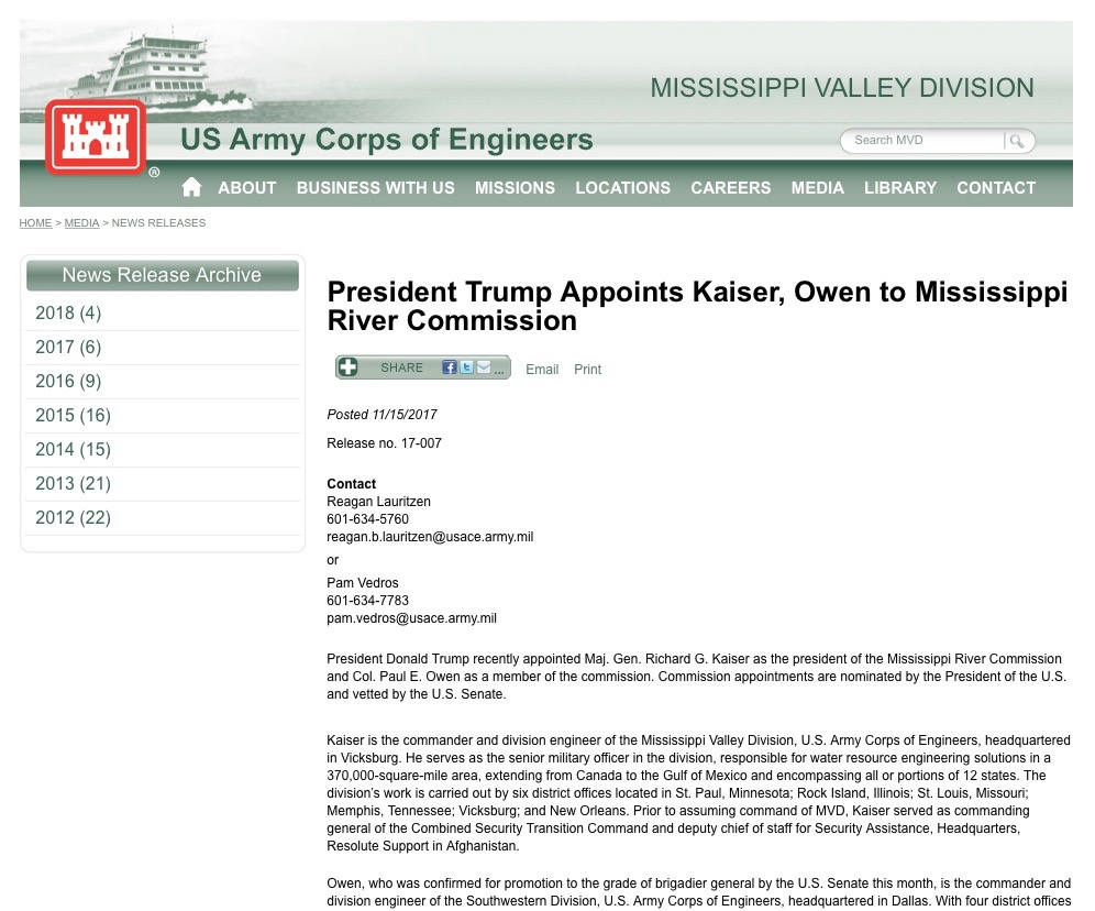 USACE Press Release